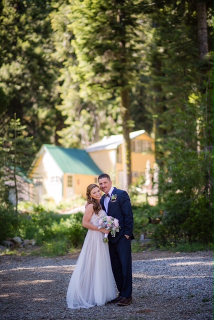 Wedding couple in woods